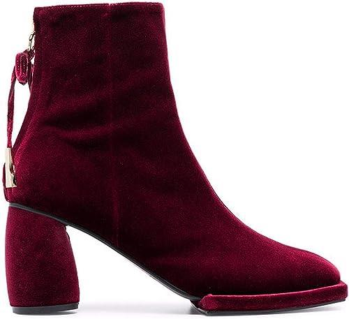 HBDLH Chaussures pour Femmes Femmes étudiant Baitie Chaussures Velours Velours Dur Au Talon Haut Martin Botte Tide  la meilleure sélection de