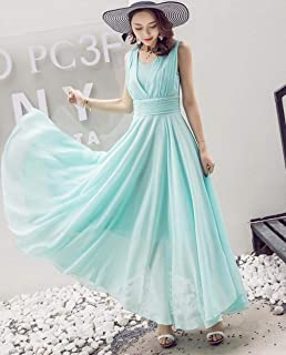 ABDKJAHSDK Bohemian Style V-Neck Solid Color Sleeveless Ladies Chiffon Long Dress Beach Skirt