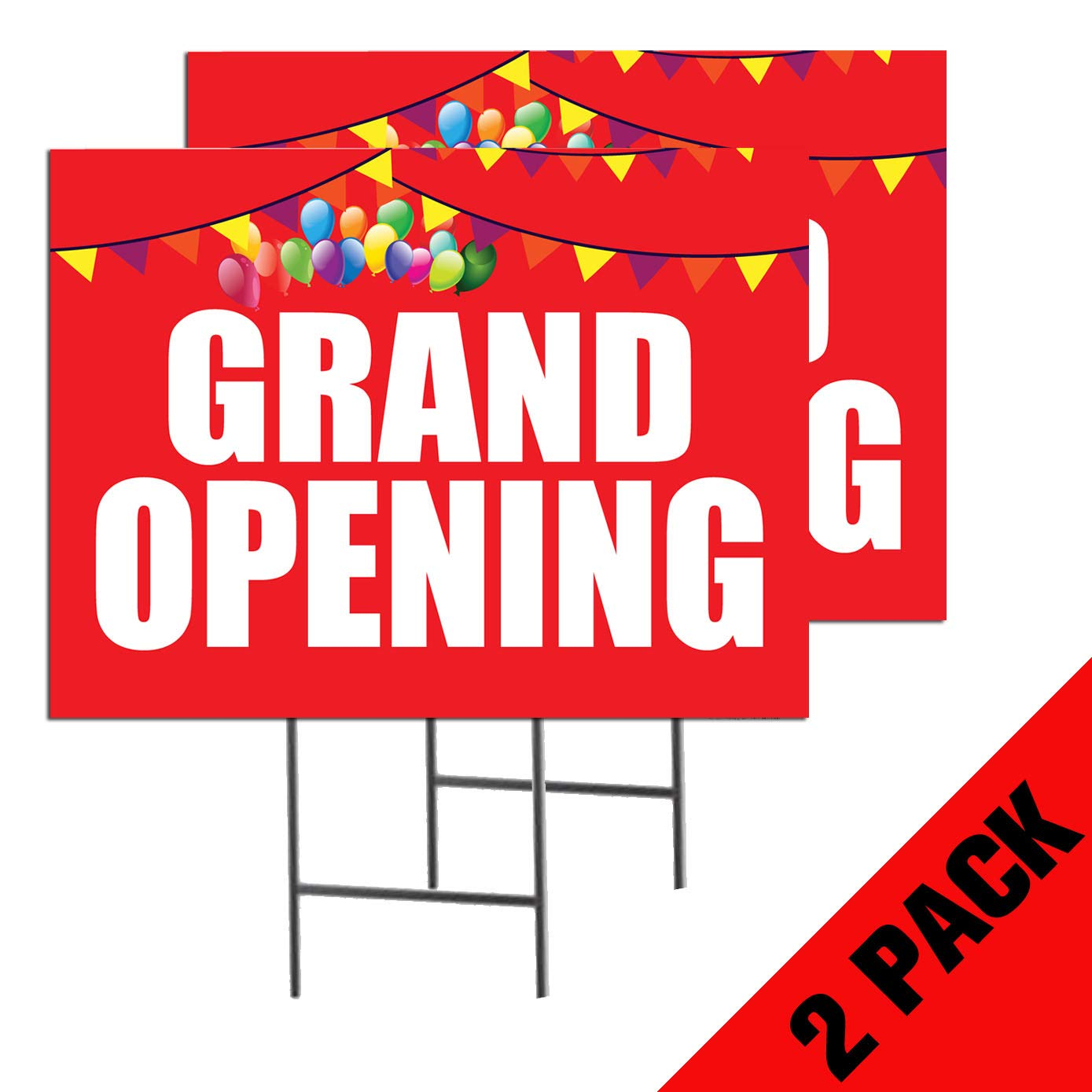 Grand Opening | 2-Pack Double Sided Outdoor Yard Signs with Metal Ground Stakes | Full Color | 24 x 18 Inches