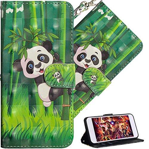 HMTECH iPhone 6S Plus/iPhone 6 Plus Custodia 3D di Lusso Anima Butterfly Flower PU Portafoglio in Pelle Flip Stand Titolare della Carta Bookstyle Cover per iPhone 6 Plus,Panda Bamboo