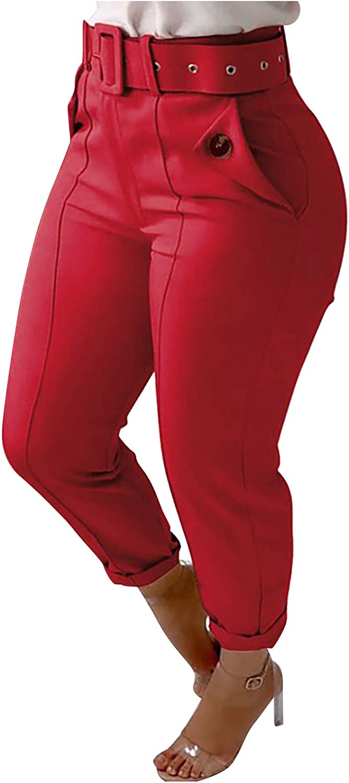 LONEA Women's Tapered Leg Pants Wear to Work Pu High Waist Belted Long Pants for Women