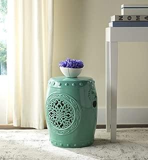 Safavieh Castle Gardens Collection Flower Drum Aqua Glazed Ceramic Garden Stool