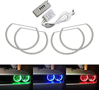 iJDMTOY 180-LED RGB Multi-Color LED Angel Eyes Halo Rings For 2008-2014 Dodge Challenger w/Wireless Remote Control