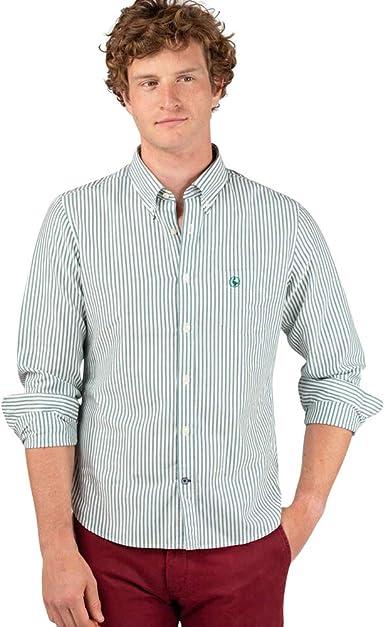 El Ganso - Colección AW19 - Camisa Oxford de Raya Yale - para Hombre - Manga Larga - Cuello de Doble Botón
