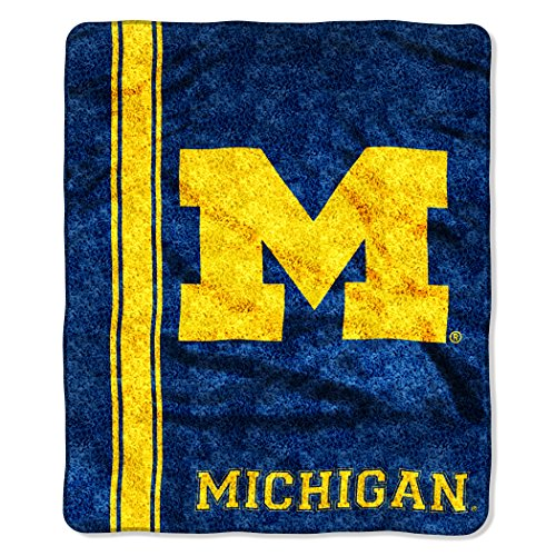 The Northwest Company Officially Licensed NCAA Michigan Wolverines Jersey Sherpa on Sherpa Throw Blanket, 50' x 60', Multi Color
