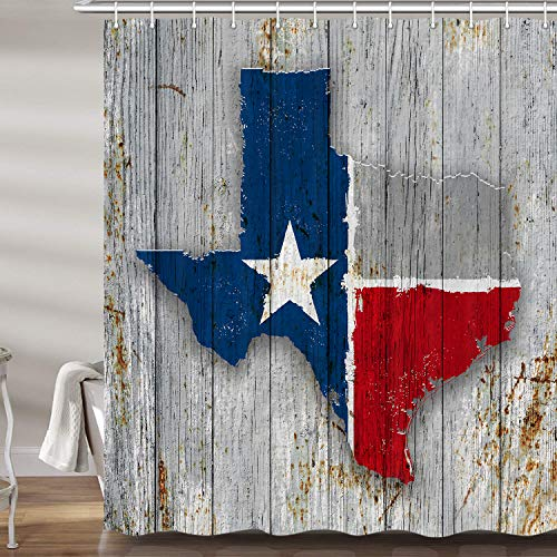 JAWO Texas Map Shower Curtain for Bathroom, Texas Flag on Rusty Rustic Wooden Board American Southwestern Profession Polyester Fabric Bath Accessories Curtains Decor with 12PCS Hooks 69X70 Inches