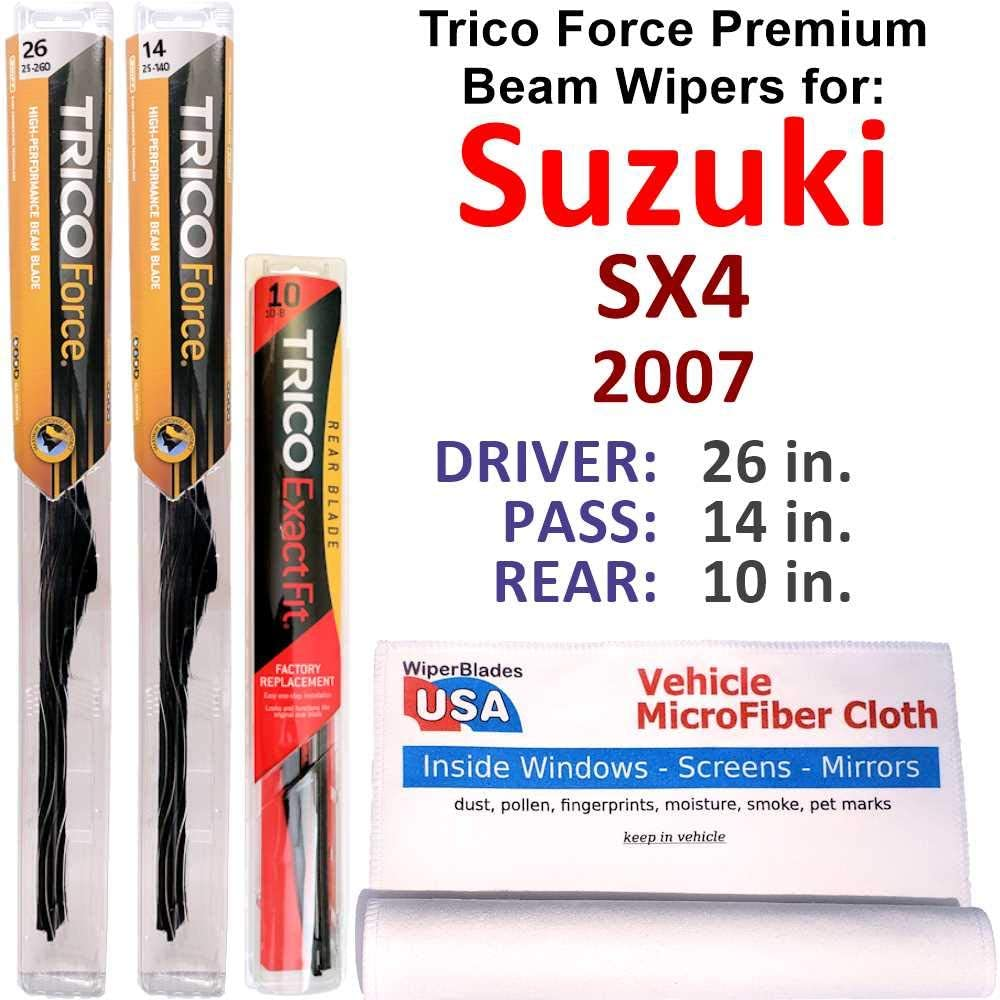 """Suzuki sx4 2007-on Window Wipers 26/"""" 14/"""" 10/"""" front and rear"""