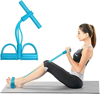 Abdomen Waist Slimming Abdominal Muscle Trainer 4-Tube Yoga Resistance Band Fitness Equipment for Sit-up Bodybuilding Expander Abdomen Workout Arm Legs Stretching Slimming Training Blue