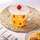 POYANG Taza de Vidrio para el Desayuno Taza de Vidrio para café con Leche de Avena Cuchara para el hogar con Tapa Taza de Agua para impresión Femenina 550ML-Fresa + Tapa_550ML