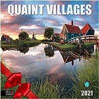 Quaint Villages - 2021 壁掛け式カレンダー Red Ember Press - 開いた時12インチ x 24インチ - 厚くて丈夫な光沢紙 - 世界中の村