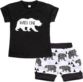 Cotrio Conjunto de roupa de 2 peças para bebês recém-nascidos Camiseta infantil de mangas curtas + shorts roupas de verão