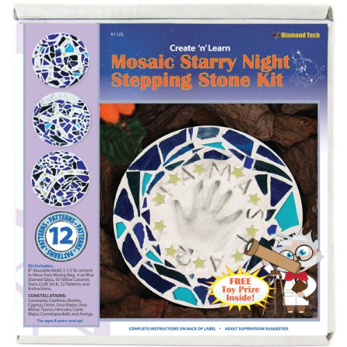 Diamond Tech Create N Learn Mosaic Stepping Stone Kit, Starry Night