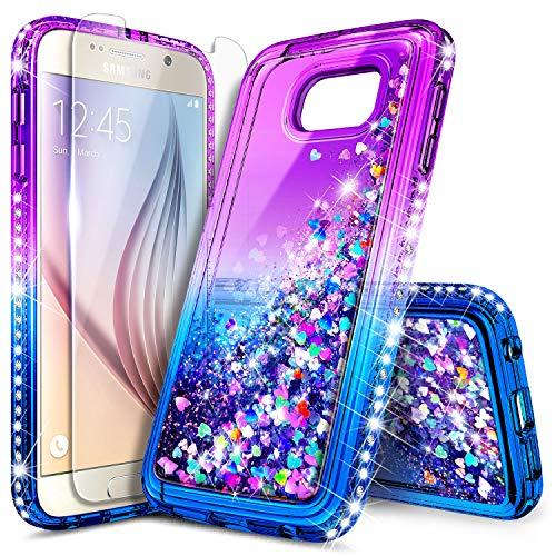 Galaxy S6 Case with Tempered Glass Screen Protector, NageBee Glitter Sparkle Bling Liquid Floating Quicksand Waterfall Shockproof Women Kids Girls Cute Durable Case for Samsung Galaxy S6 -Purple/Blue