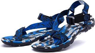 AUCDK Men Soft Ribbon Sandals Velcro Camouflage Beach Sandal Summer Open Toe Walking Sandal Casual Outdoor Slipper