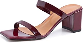 Genuine Leather Mules Women Slippers Square Toe Shoes Thick High Heels Slides