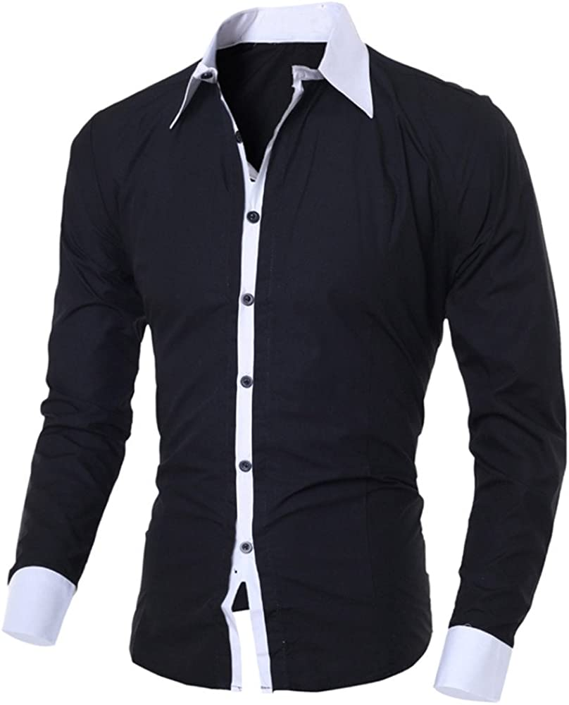 DZQUY Men's Casual Slim Fit Polo Shirts Long-Sleeved Casual Classic Patchwork Plaid Collar Work Polo Shirts Top Blouse