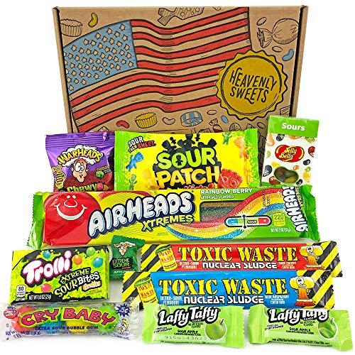 Geschenkkorb mit saure amerikanische süßigkeiten | Super Saures Geschenkset aus den USA | Auswahl beinhaltet Warheads Extreme, Sour Jelly Beans | 11 Produkte in einer tollen retro Geschenkebox