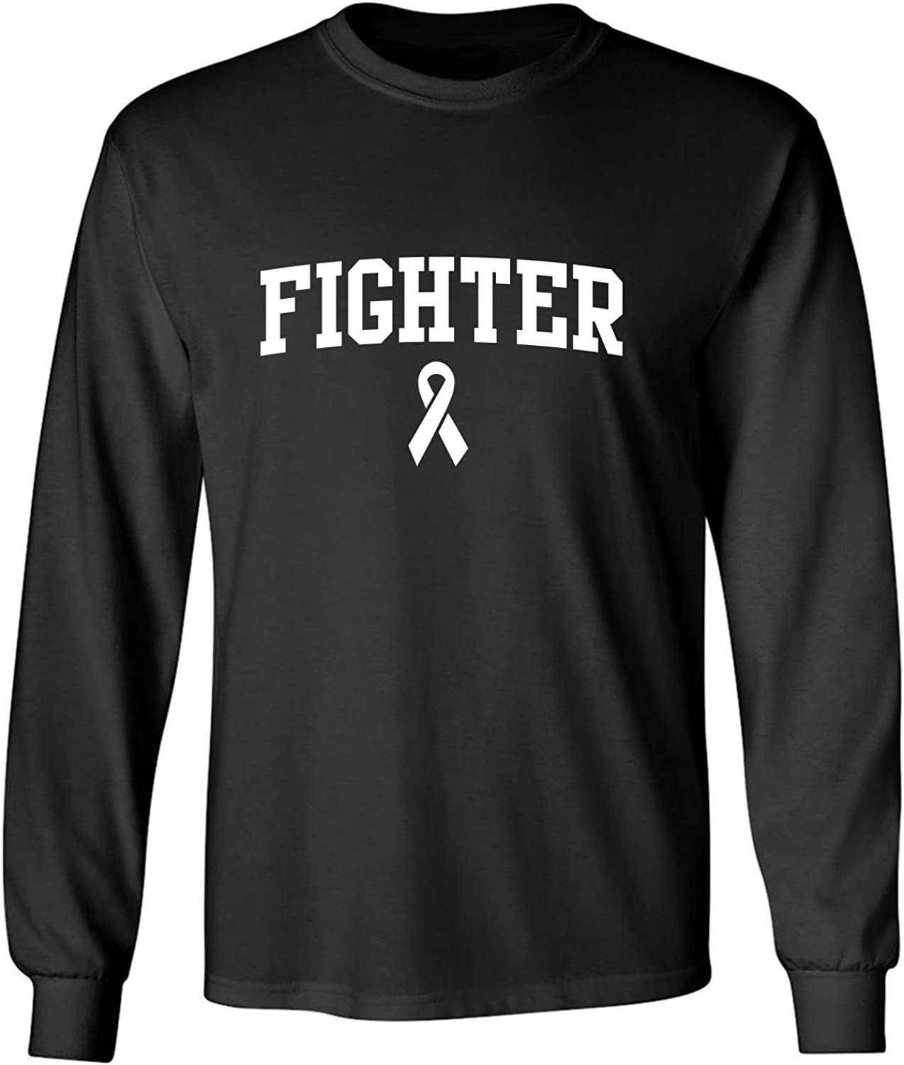 Fighter Ribbon Adult Long Sleeve T-Shirt in Black - XXXXX-Large