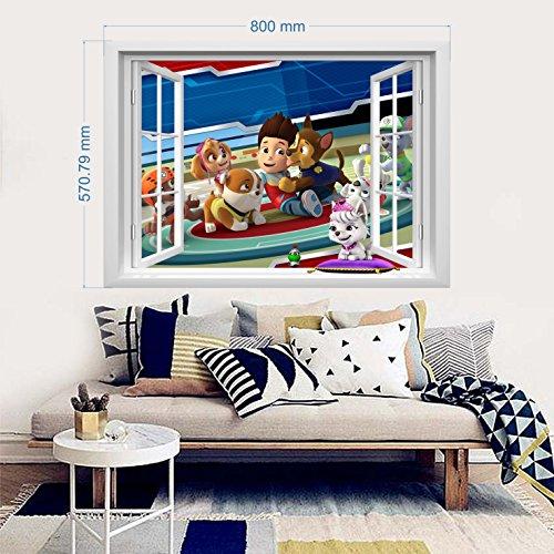Paw Patrol Wandtattoo für Schlafzimmer Jungen und Mädchen Wandbild Wandtattoo Kunsttapete Aufkleber für Kinderzimmer Wandkunst Spielzimmer Jungen Mädchen 57cm x 80cm x 1 Blatt vinyl