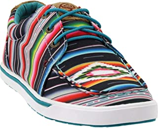 Women's Hooey Loper B Toe Printed Lace-Up Cowboy Shoes - Black/Serape