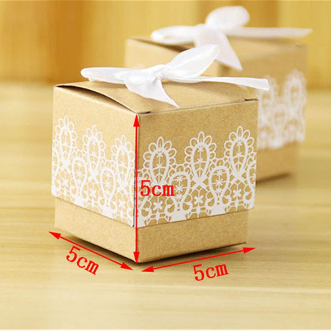 JONARO - 100 Cajas de Papel para Dulces con Lazo de Encaje, Caja de Regalo para cumpleaños, Bodas, Fiestas, Recuerdos: Amazon.es: Hogar