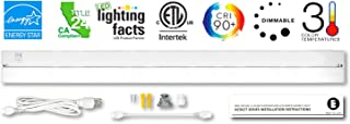 Britelum 40 Inch, 3-in-1 Color Temperature: Dimmable LED Under Cabinet Lighting; 2700K/ 3500K/ 4000K w/ CRI90+, Hardwired or Plug in, Energy Star, CA T24, ETL Listed, 120V 20W 1060 Lumens, White