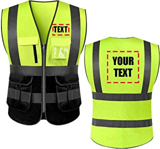 High Visibility Reflective Safety Vest Class 2 ANSI Personalized Custom Your Text Protective Workwear 5 Pockets With Reflective Strips Outdoor Work Vest (Neon Yellow/Black M)