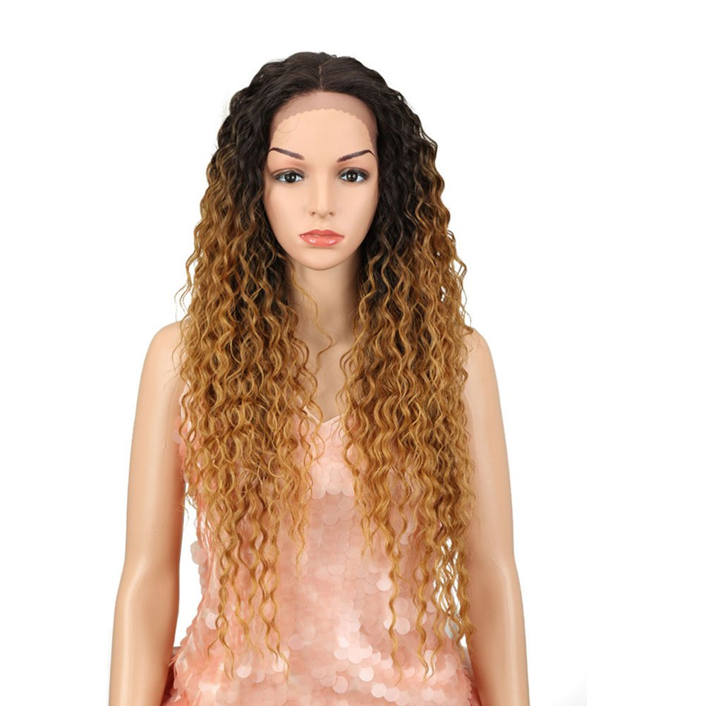 """Style Icon Lace Front Max 56% OFF Wigs 28"""" Blonde Long Wig Ombre Curly Large discharge sale"""