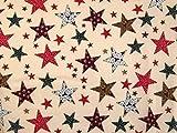 Baumwollstoff, Weihnachtsmotiv, Sterne, Meterware, Beige