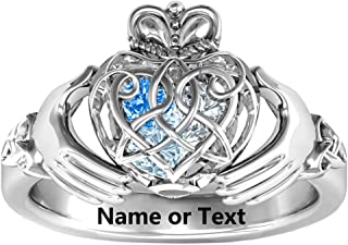 Claddagh Ring Personalized Name Engraved and Birthstone Love Crown Caged Hearts Band Promise Ring for Her