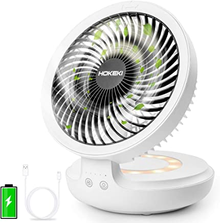 HOKEKI USB Desk Fan with Night Breathing Light, Air Circulator Desk Fan 90 Degree Rotation Portable Foldable Fan for Home, Office, Travel, Camping, Outdoor, Indoor Fan, 4 Speed Setting, White