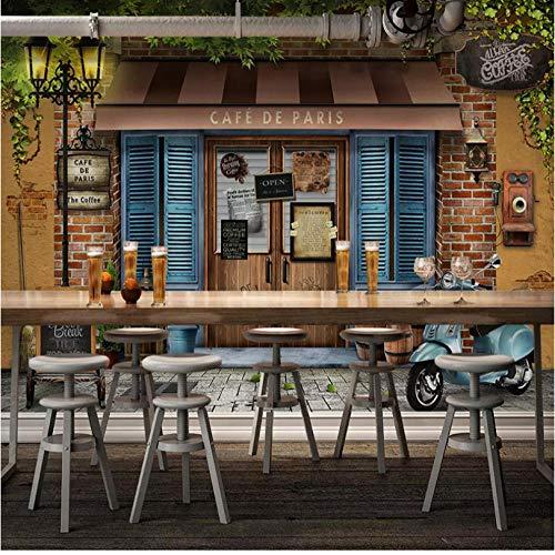 Fototapete 3d effekt Benutzerdefinierte Irgendeine Größe Wandbild Tapete 3D Retro Paris Cafe Hintergrund Wandmalerei Restaurant Wohnzimmer Hintergrund Wanddekor Fresko