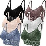 Duufin 6 Piezas Sujetador de Encaje Tipo Bralette para Mujer, 6 Colores (Blanco, Negro, Beige, Azul Acero, Verde, marrón Rosado, S)
