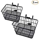 Ohuhu Bike Basket Rust-Proof Quick Release Front Handlebar Bicycle Lift Off Baskets with Holder, Mesh Bottom (Black, 2 Pack)