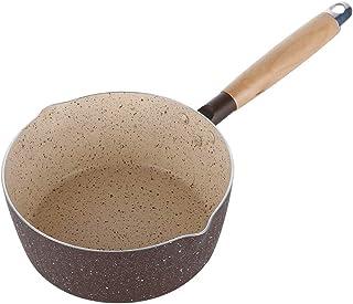 Dongyd Olla Antiadherente para Leche, Olla de Sopa de Fideos instantáneos con Mango de Madera de Aluminio, 18 cm
