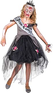Girl's Zombie Prom Queen Costume, for Halloween Party Accessory, Black
