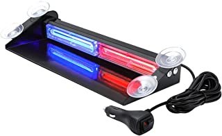Red Blue LED Emergency Strobe Dash Lights with Suction Cups, WOWTOU Aluminum 24W Interior Front Rear Deck Windshield Flashing Light for Police Cars Law Enforcement First Responder Vehicles Trucks