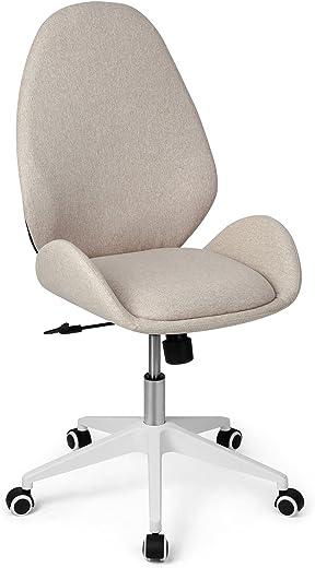Bürostuhl Ergonomischer Schreibtischstuhl Stoff Moderner Drehstuhl Ohne Armlehne Office Chair, Wippfunktion, Bürostuhl Höhenverstellbar, Beige