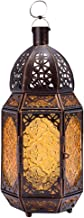 Mobestech Hanging Lantern Retro Ceiling Moroccan Chandelier Creative Metal Hollow Iron Candle Holder Lantern for Home Corr...