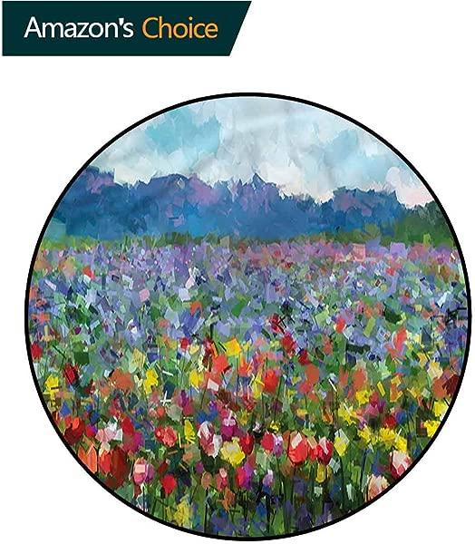 RUGSMAT Art Modern Flannel Microfiber Round Area Rug Rural Landscape Tulip For Home Decor Bedroom Kitchen Etc Diameter 24