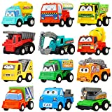 Pull Back Car,12 Pack Assorted Mini Plastic Construction Vehicle Set, Car TruckToyfor Kids, Boy, Girl, Child Birthday Party Favors, Goody Bag, Prizes, Pinata Filler Supplie