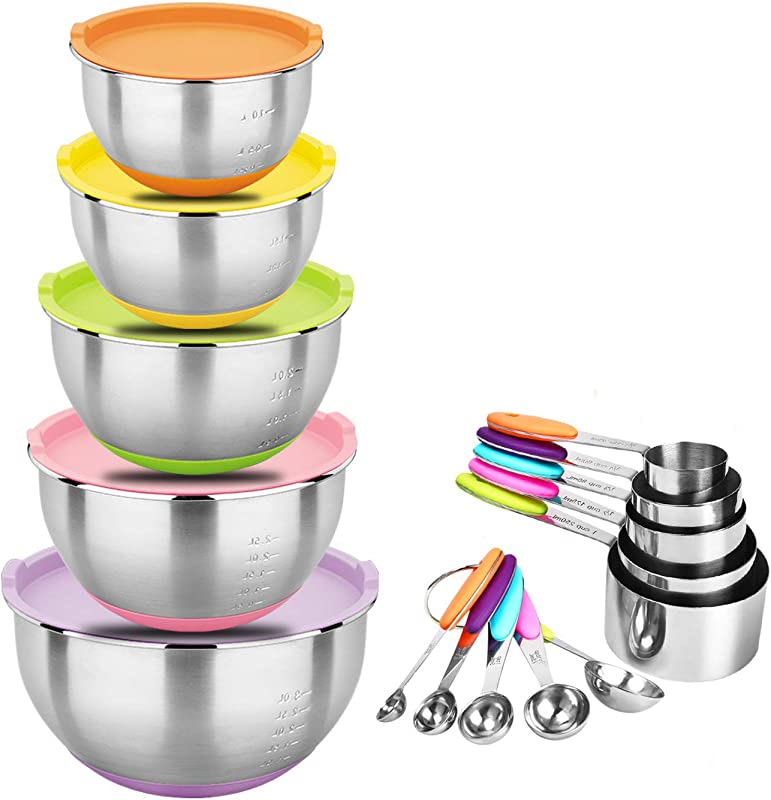 Zonegrace Stainless Steel Nesting Mixing Bowls With Lids And Measuring Cups Spoons Set Non Slip Silicone Bottom For Mixing Beating Stackable Storage 1 5 2 0 3 0 4 0 5 0 Qt