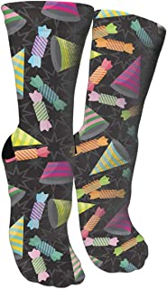 Calcetines Hombres Mujer Party Hats and Candy - Black Compression Socks for Women and Men - Best Medical,for Running,Athletic,Varicose Veins,Travel