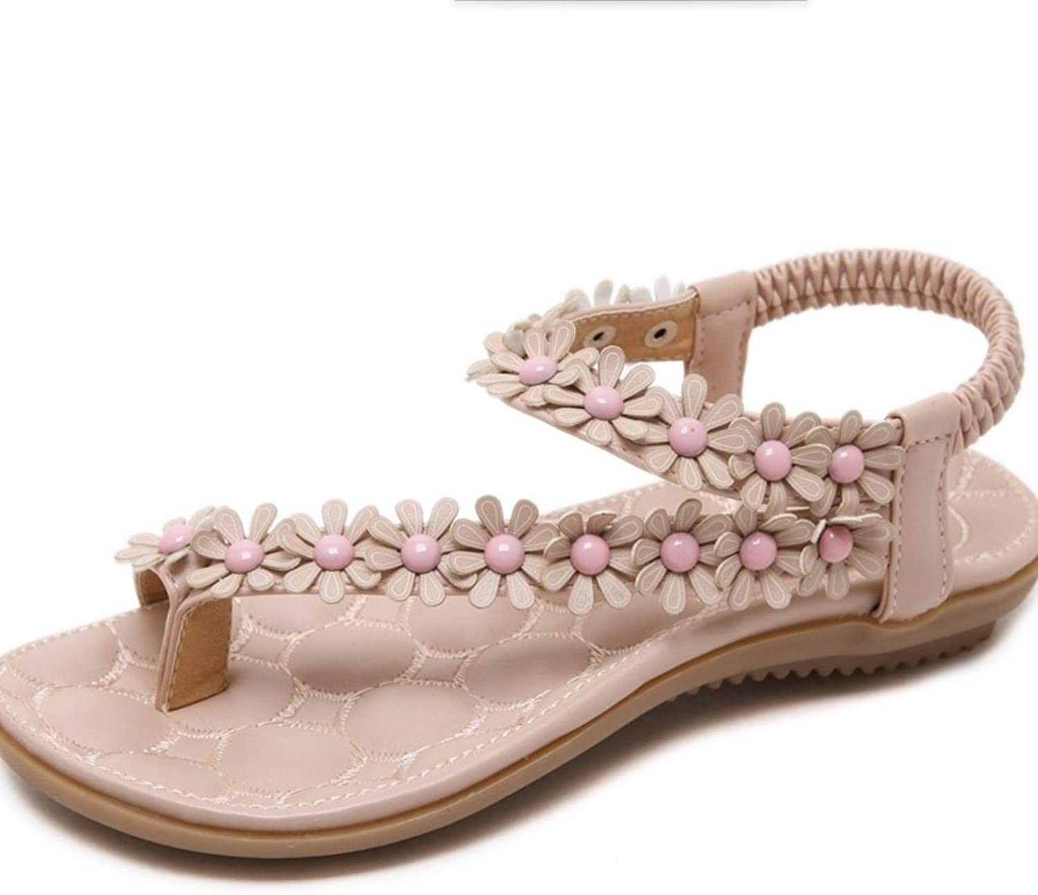 Women's New Summer Bohemian Sandals Sandals Low-Heeled Sandals Flowers Decorative Buckles Low-Heeled shoes XIAOQI