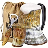 Viking Culture Ox Horn Mug, Shot Glass, and Bottle Opener (3 Pc. Set) Authentic 16-oz. Ale, Mead, and Beer Tankard | Vintage Stein with Handle, Natural Finish | The Jarl