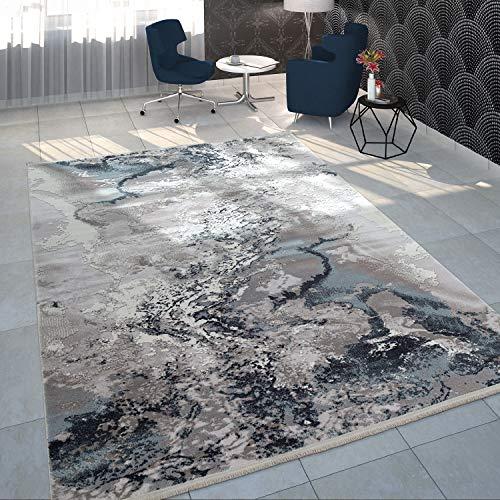 Paco Home Tapis De Salon Poils Ras Acrylique Moderne Design Marbre Bleu Blanc Gris, Dimension:120x170 cm