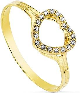 18K Gold Cubic Zirconia Heart Ring 8mm Draft. Circonitas [Ab2438]