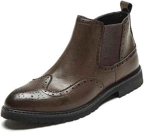 SRY-Chaussures de Mode Botte Chelsea Simple à la Mode pour Hommes Décontracté Décontracté Brogue Print High démarrage Ankle démarrage (Couleur   Marron, Taille   44 EU)