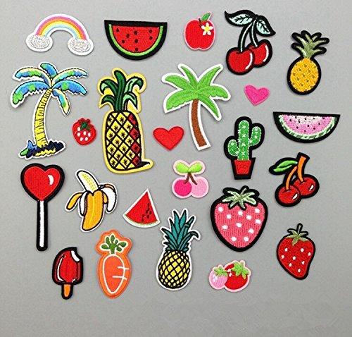 Yulakes 24 STK Patch Sticker/Aufnäher Sticker/Niedlich DIY Kleidung Patches Aufkleber Obst Frucht Patches für T-Shirt Jeans Kleidung Taschen