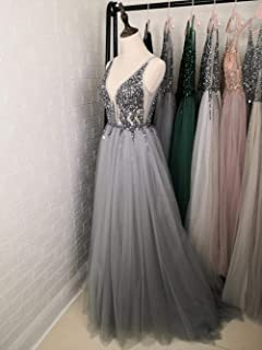 LSY&JJ Beading Prom Dresses Long 2019 V Neck Light Gray High Split Sweep Train Sleeveless Evening Gown A-Line Backless V-Neck Sleeveless Prom Off Shoulder Deep V Dress